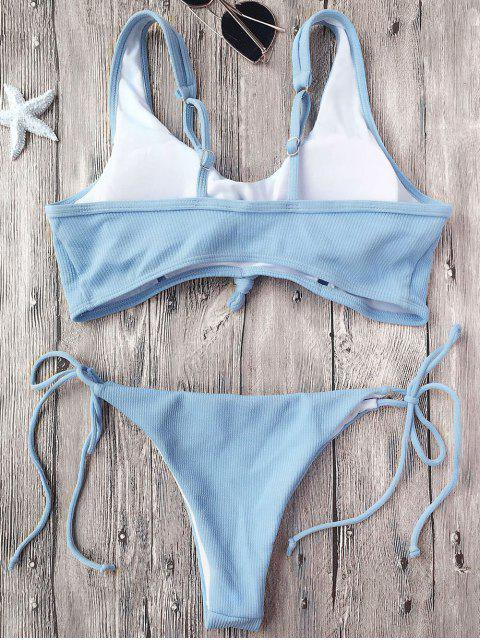 hot Ribbed Knotted String Bralette Bikini - LIGHT BLUE S Mobile