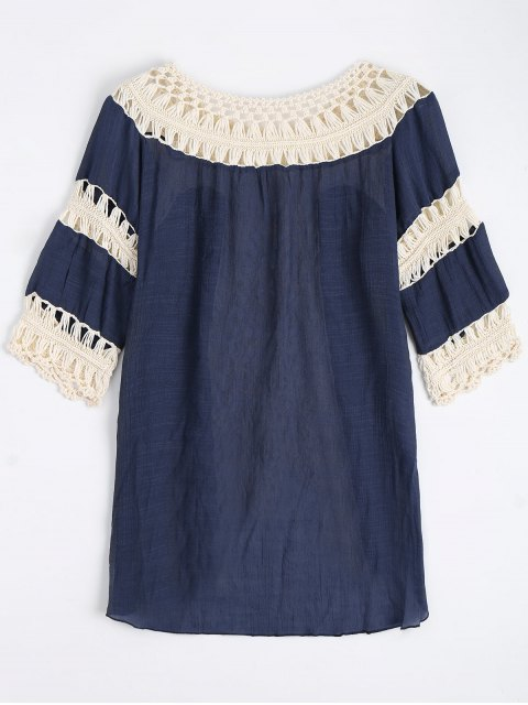 latest Crochet Insert Beach Cover Up Tunic Top - PURPLISH BLUE ONE SIZE Mobile