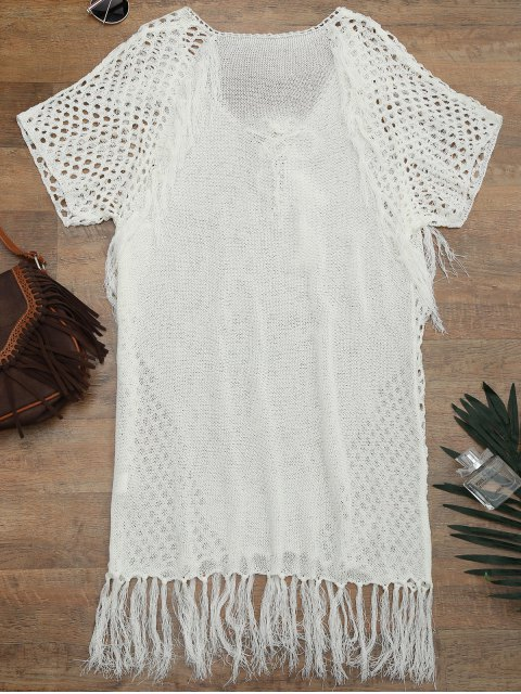 trendy Relaxed Sheer Beach Tunic Cover Up Dress - WHITE ONE SIZE Mobile