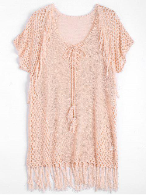 fashion Relaxed Sheer Beach Tunic Cover Up Dress - PINK ONE SIZE Mobile