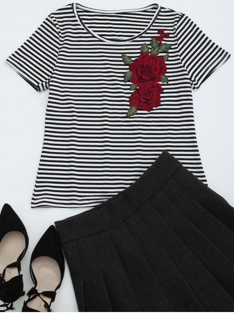 T-shirt Rayé à Motif Floral Col Rond - Rayure S Mobile
