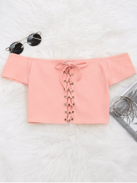 affordable Lace Up Ribbed Off Shoulder Top - PINK 2XL Mobile