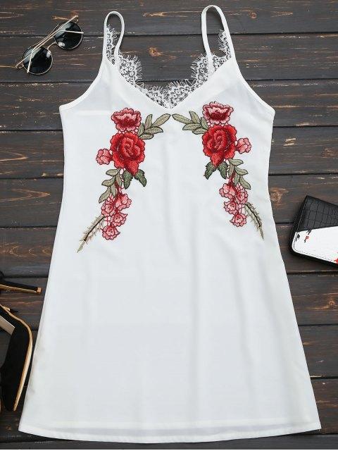 Spitze Einsatz Blumen Besticktes Slip Kleid - Weiß XL  Mobile