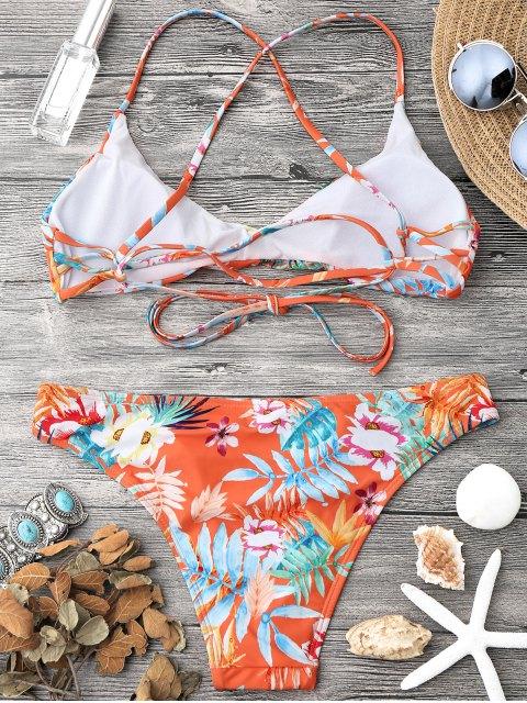 womens Tropical Print Strappy Bikini Top and Bottoms - ORANGE L Mobile
