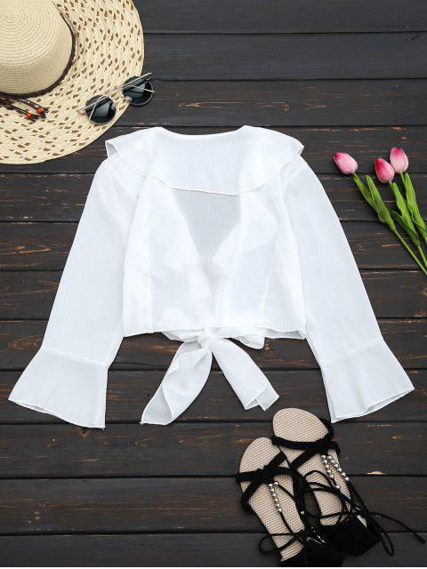 latest Ruffle Hem Self Tie Cropped Blouse - WHITE XL Mobile