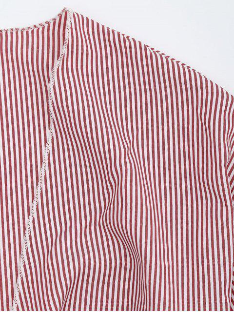 trendy Self Tie Cropped Striped Blouse - RED STRIPE S Mobile