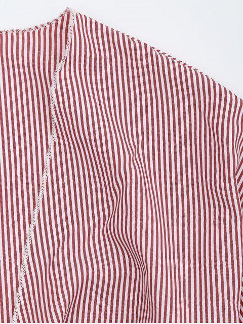 Chemisier court rayé auto-attaché - Rouge Bande S Mobile