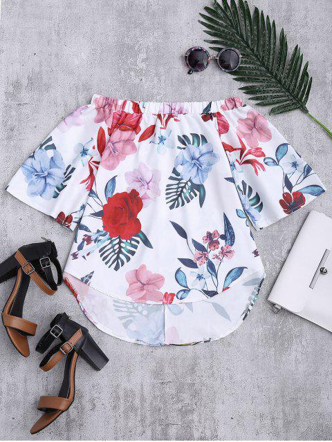 ladies Floral Off The Shoulder Top - WHITE XL Mobile