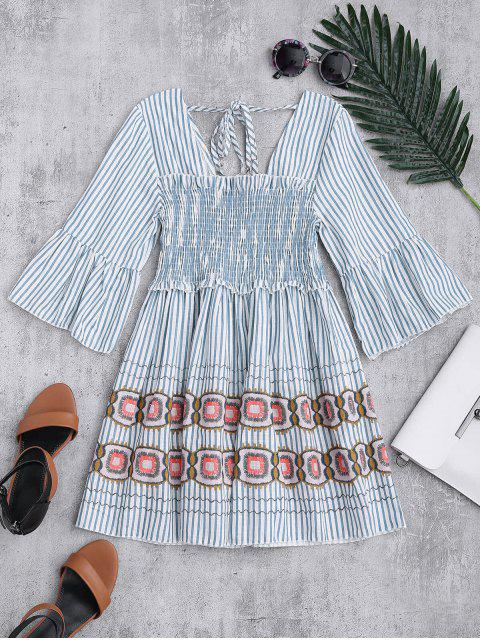 hot Square Neck Striped Smocked Babydoll Top - BLUE ONE SIZE Mobile