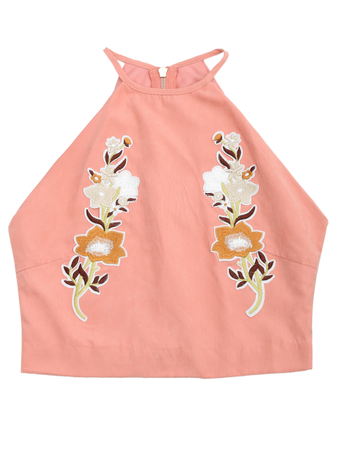 fashion Floral Embroidered Faux Suede Tank Top - PINK L Mobile