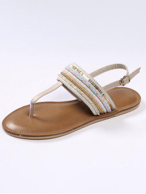 women Belt Buckle Beading Flat Heel Sandals - APRICOT 37 Mobile