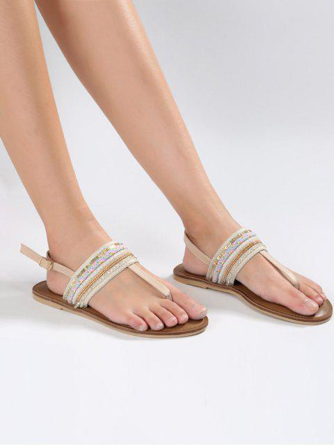 women's Belt Buckle Beading Flat Heel Sandals - APRICOT 38 Mobile
