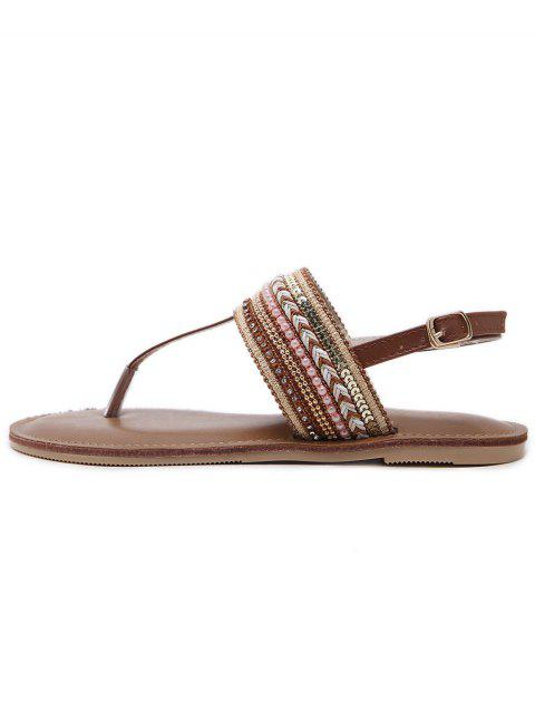 best Belt Buckle Beading Flat Heel Sandals - DEEP BROWN 39 Mobile