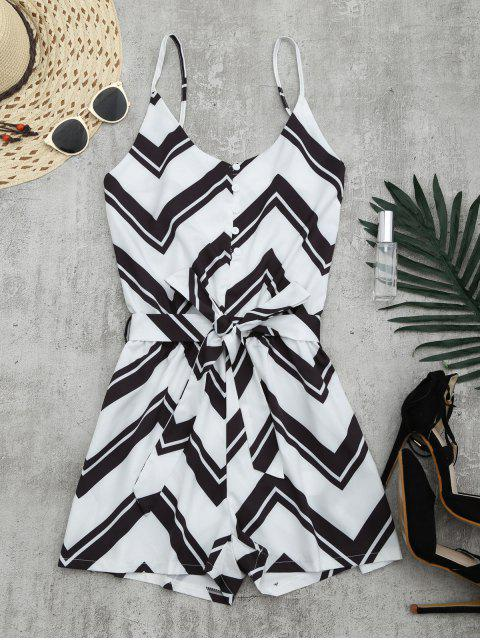 affordable Belted Zigzag Cami Romper - WHITE L Mobile