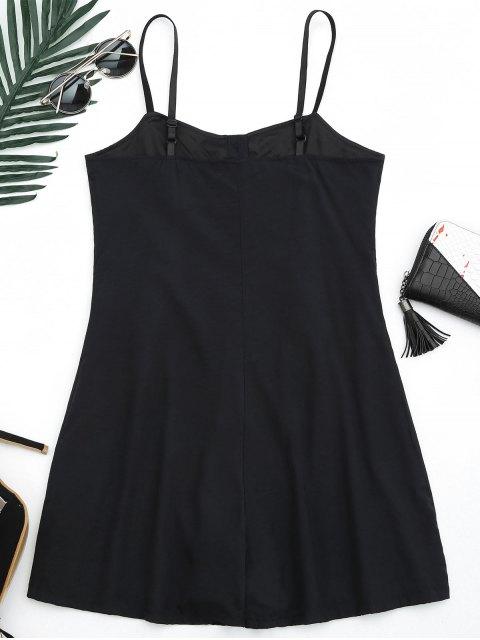 shop Cami Lined Half Buttoned Romper - BLACK L Mobile