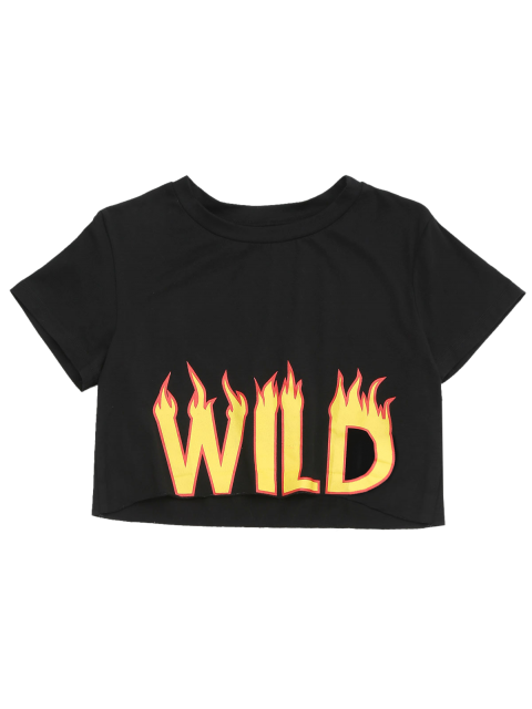 women Cropped Fire Letter Top - BLACK S Mobile