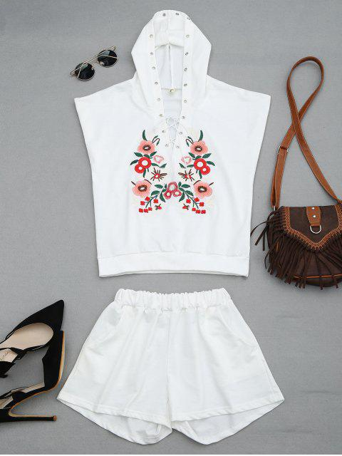 hot Floral Patched Hooded Two Piece Suit - WHITE L Mobile