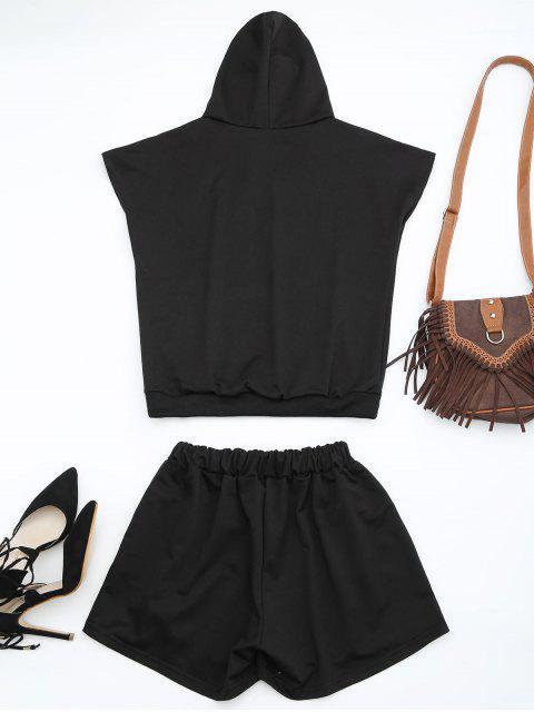 shop Floral Patched Hooded Two Piece Suit - BLACK 2XL Mobile