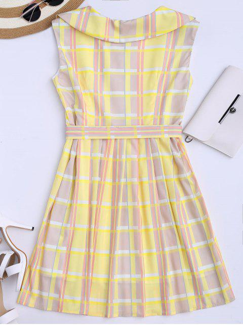 fancy Plaid Flared Shirt Dress With Belt - YELLOW XL Mobile