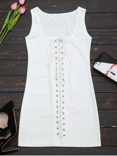 U Neck Lace Up Bodycon Dress - Blanc L Mobile