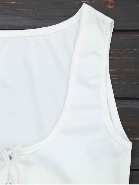 sale U Neck Lace Up Bodycon Dress - WHITE M Mobile
