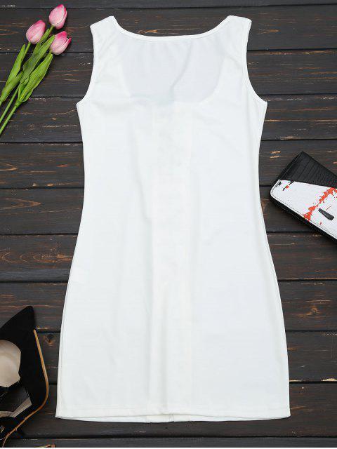 U Neck Lace Up Bodycon Dress - Blanc S Mobile