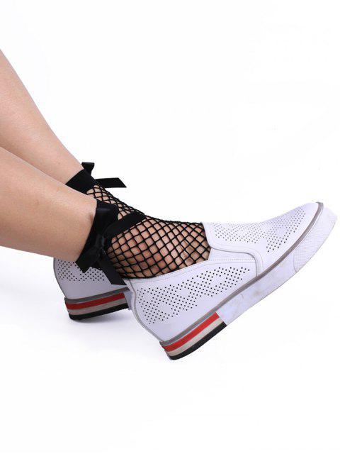 women Fish Mesh Side Bowknot Embellished Ankle Socks - BLACK  Mobile