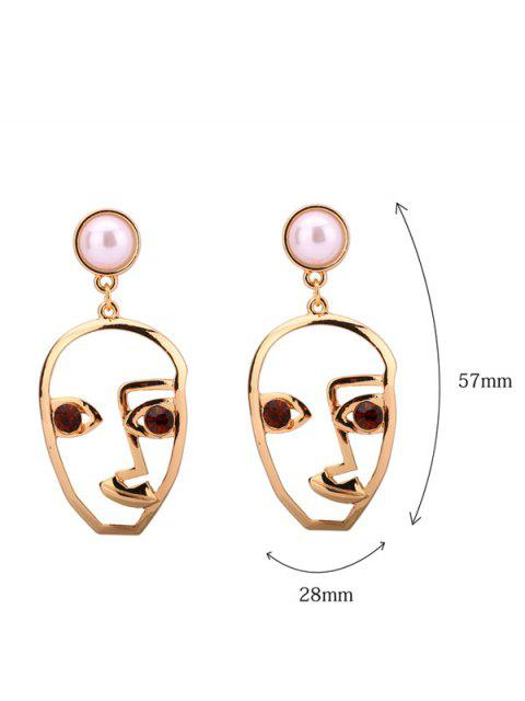 outfits Rhinestone Faux Pearl Face Earrings - COFFEE  Mobile