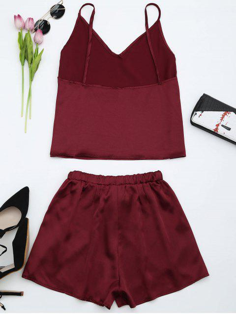 Top à bretelle et shorts en satin - Rouge vineux  S Mobile