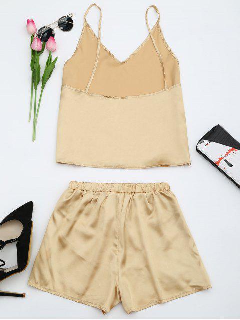 Top à bretelle et shorts en satin - Or M Mobile