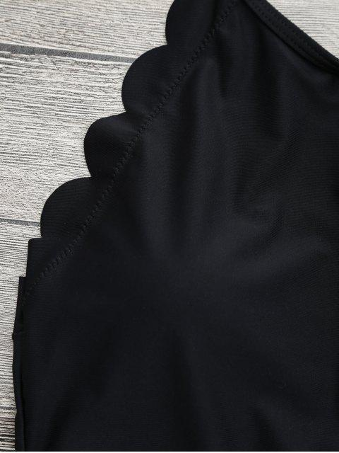 latest Scalloped High Neck Swimwear - BLACK S Mobile