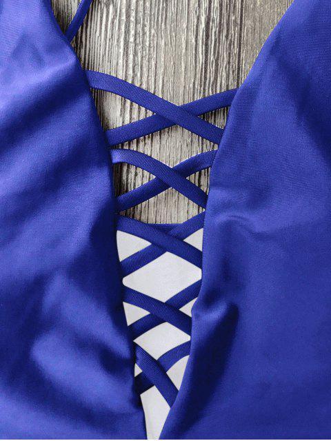 Maillots de bain une-pièce à bretelle lacé haut - Bleu L Mobile
