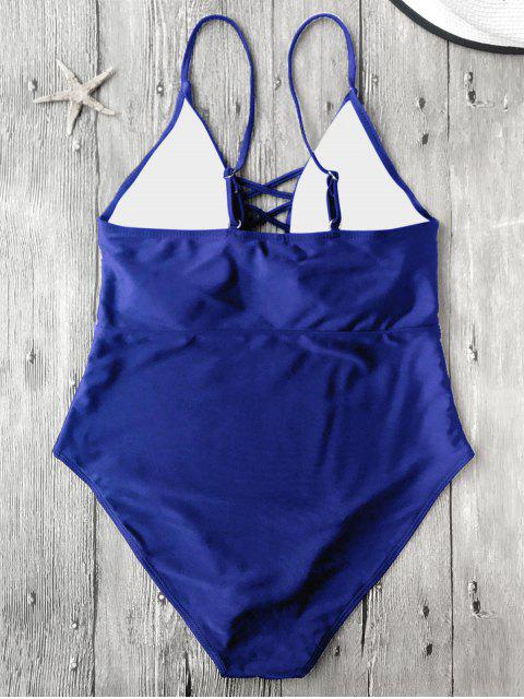 chic Strappy Lace-Up One-Piece Swimwear - BLUE S Mobile