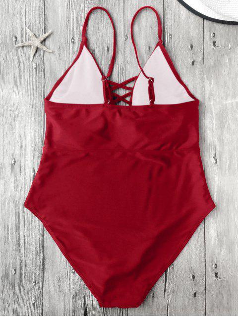 Maillots de bain une-pièce à bretelle lacé haut - Rouge XL Mobile