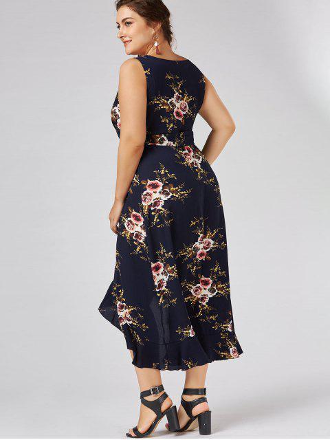 Robe d'enveloppe à grande taille imprimée de motif floral avec embellissement de falbalas - Bleu Violet 2XL Mobile
