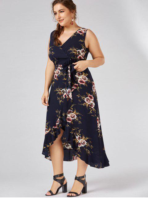 affordable Plus Size Tiny Floral Overlap Flounced Flowy Beach Dress - PURPLISH BLUE 2XL Mobile