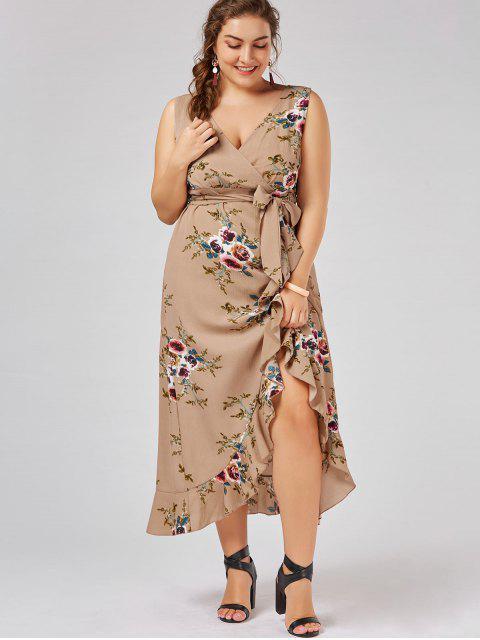 women's Plus Size Tiny Floral Overlap Flounced Flowy Beach Dress - APRICOT 5XL Mobile