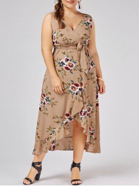 Robe d'enveloppe à grande taille imprimée de motif floral avec embellissement de falbalas - Abricot 3XL Mobile