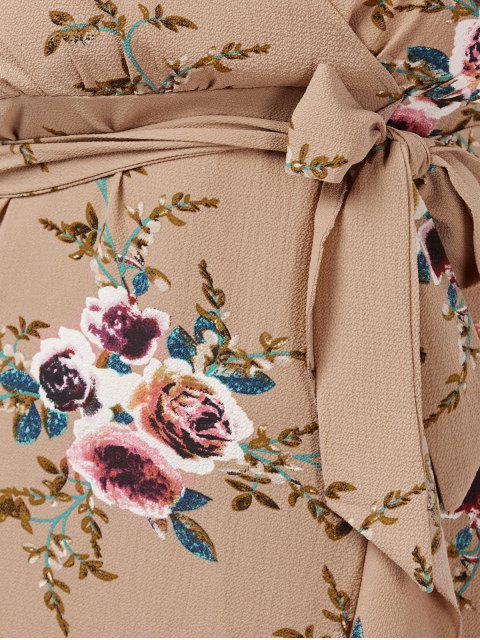 Robe d'enveloppe à grande taille imprimée de motif floral avec embellissement de falbalas - Abricot 2XL Mobile
