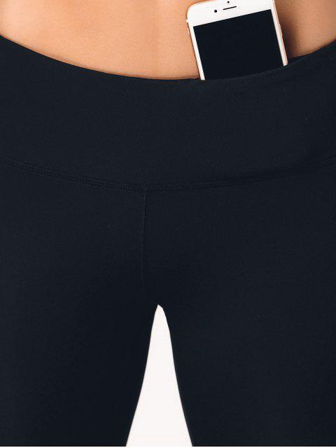 lady See Through Pocket Mesh Panel Activewear Leggings - BLACK L Mobile