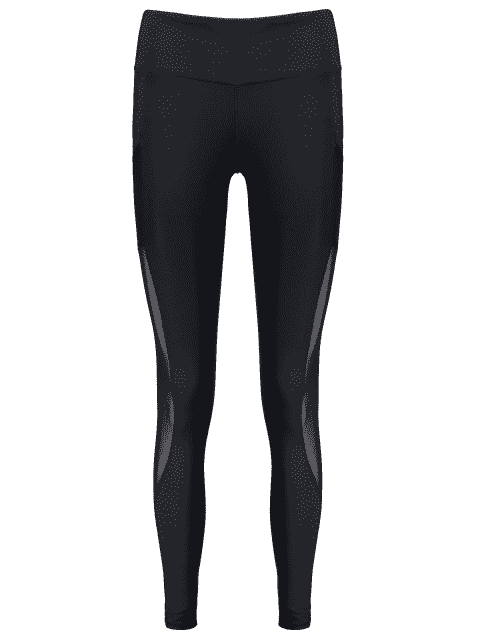 best See Through Pocket Mesh Panel Activewear Leggings - BLACK M Mobile