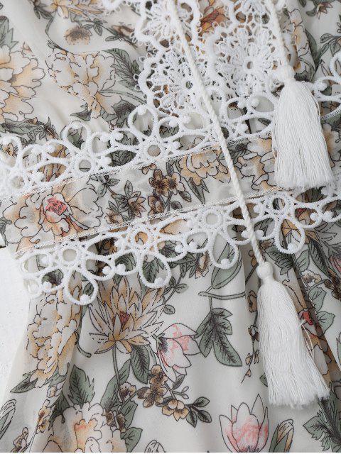 unique Lace Up Plunging Neck Floral Dress - WHITE XL Mobile
