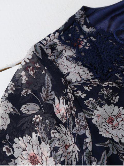 fashion Lace Up Plunging Neck Floral Dress - CADETBLUE L Mobile