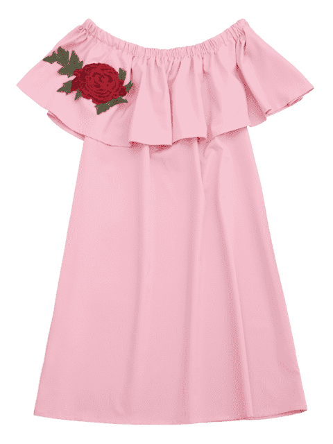 trendy Floral Patched Flounce Shift Dress - PINK ONE SIZE Mobile
