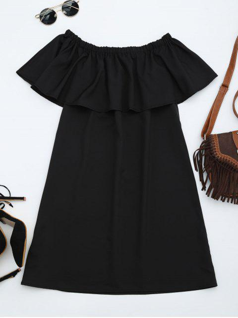 fashion Floral Patched Flounce Shift Dress - BLACK ONE SIZE Mobile
