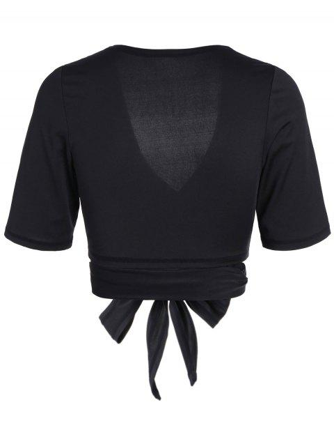 sale Cropped Plunging Neck Sporty Wrap Top - BLACK L Mobile