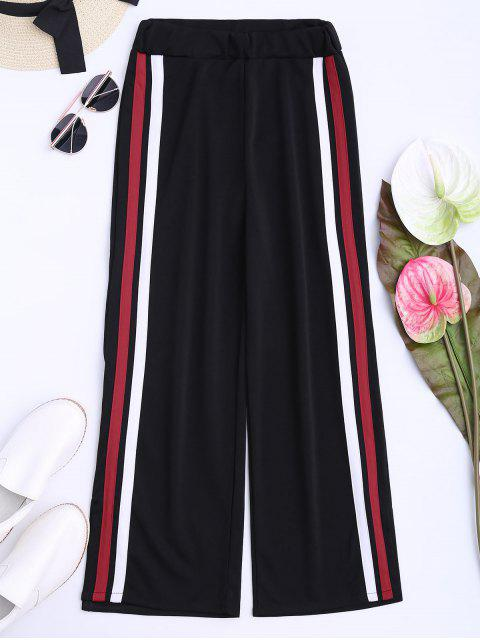 outfits Side Tape Cropped Wide Leg Pants - BLACK ONE SIZE Mobile