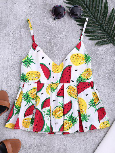 Cami Watermelon Empire Waist Tank Top - White