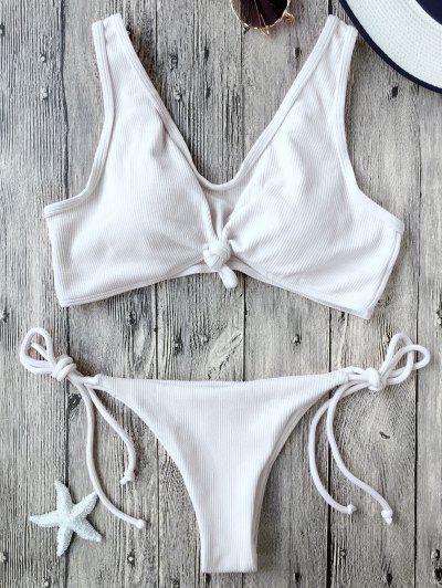Ribbed Knotted String Bralette Bikini - White S