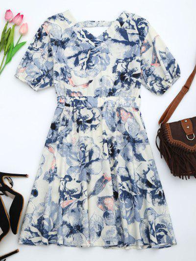 Vestido Floral Mangas Puff - Azul S
